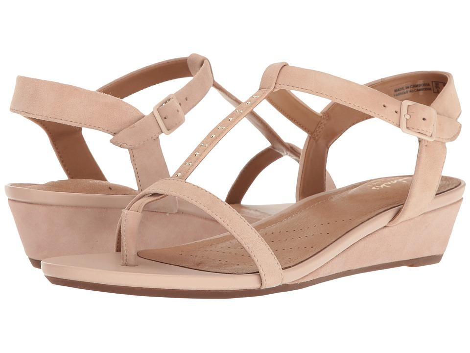 Clarks - Parram Blanc (Nude Suede) Women's Sandals
