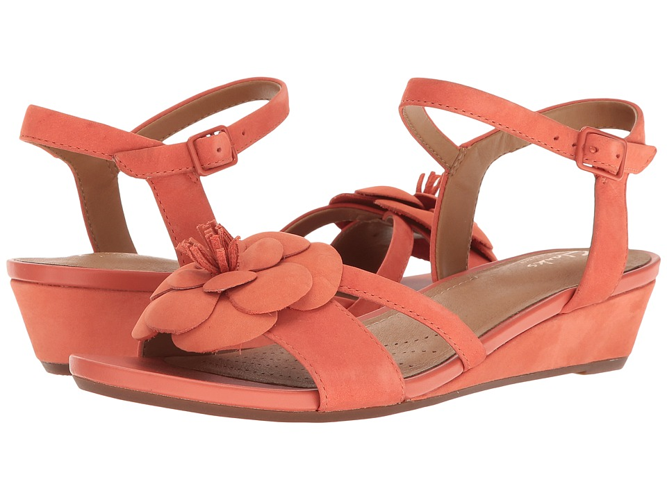 Clarks - Parram Stella (Coral Nubuck) Women's Sandals