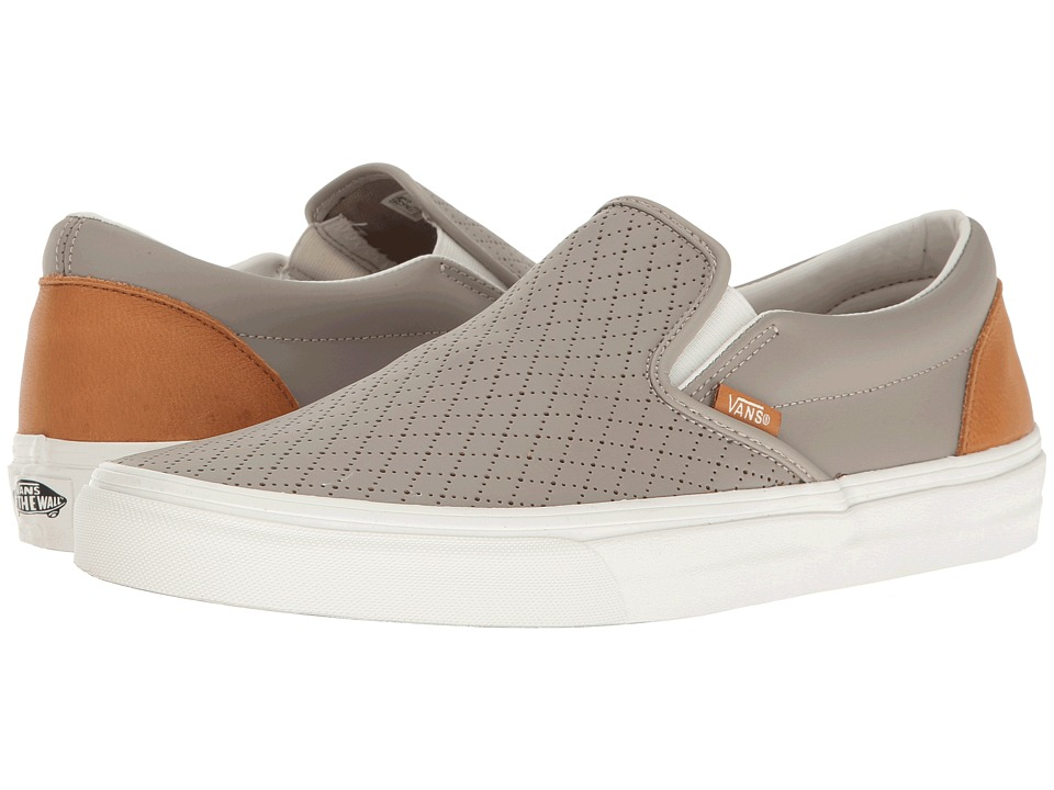 Vans - Classic Slip-On ((Leather Perf) Moon Rock/Cashew) Skate Shoes
