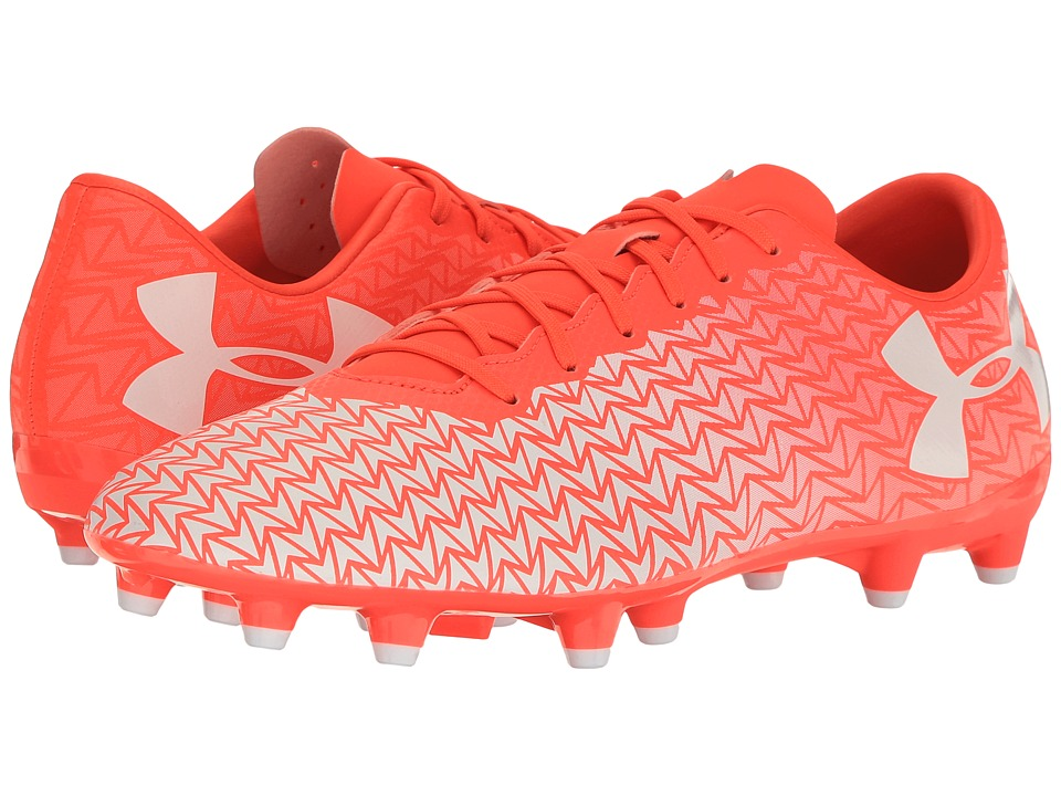 Under Armour - UA CF Force 3.0 FG (Neon Coral/White) Men's Soccer Shoes