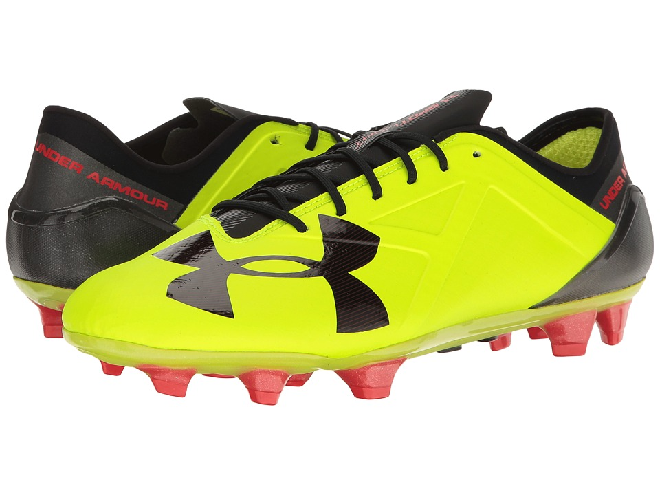 Under Armour - UA Spotlight FG (High-Vis Yellow/Rocket Red/Black) Men's Cleated Shoes