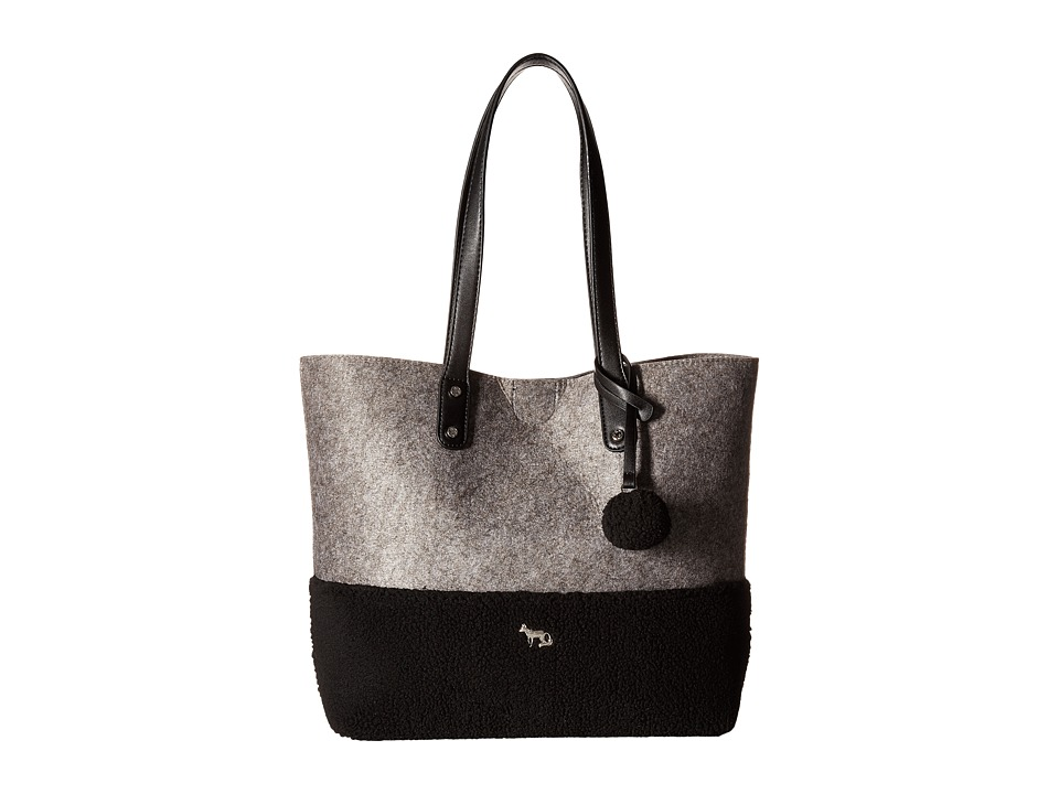 Emma Fox - Caspian Felt Tote (Grey/Black) Tote Handbags
