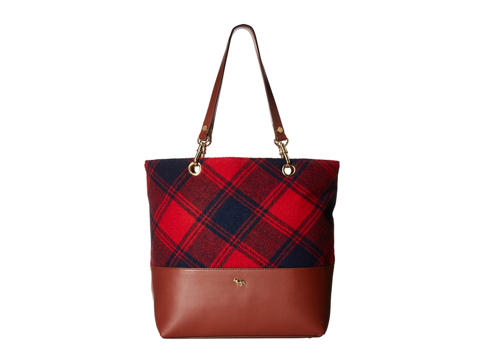 Emma Fox - Jutland Plaid Tote (Red/Navy Plaid) Tote Handbags