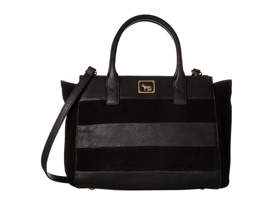 Emma Fox - Olana Stripe Satchel (Black) Satchel Handbags