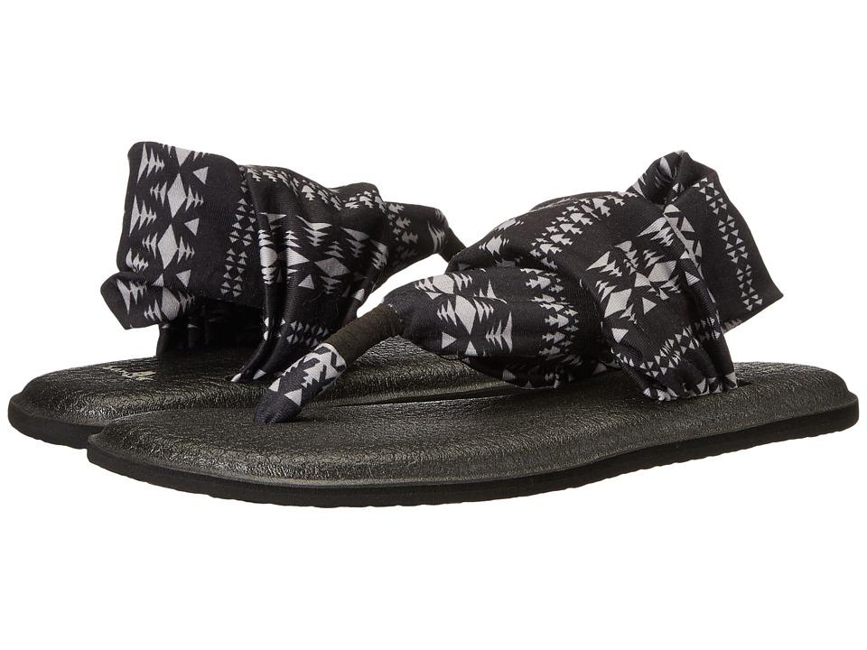 Sanuk - Yoga Sling 2 Prints (Black/Natural Koa Tribal) Women's Sandals