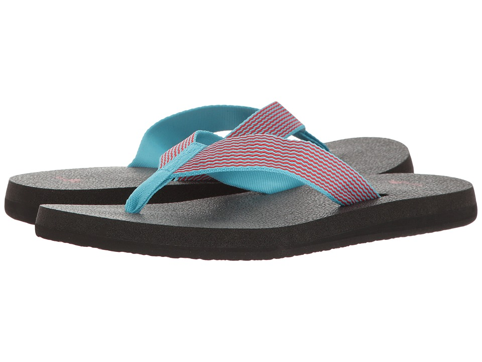 Sanuk - Yoga Mat Webbing (Aqua/Bright Red) Women's Sandals