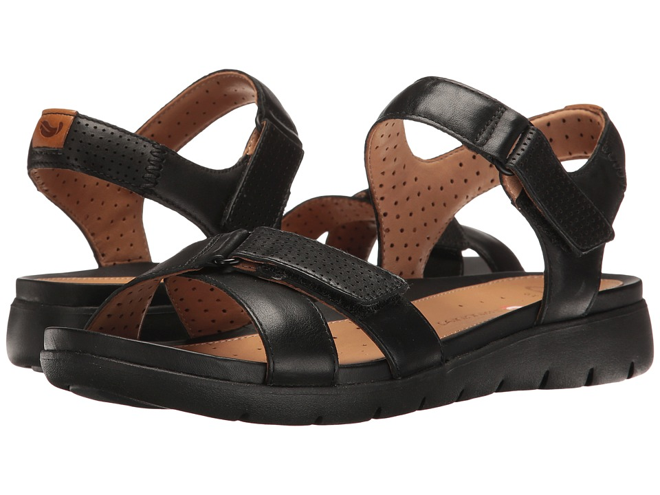 Clarks - Un Saffron (Black Leather) Women's Sandals