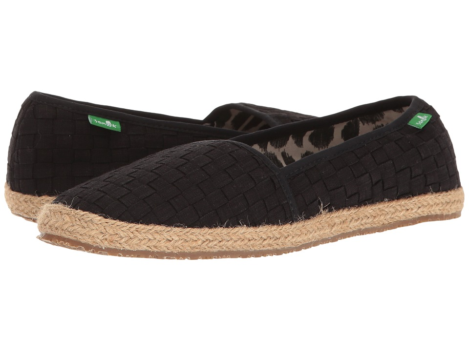 Sanuk - Basket Case (Washed Black) Women's Slip on Shoes
