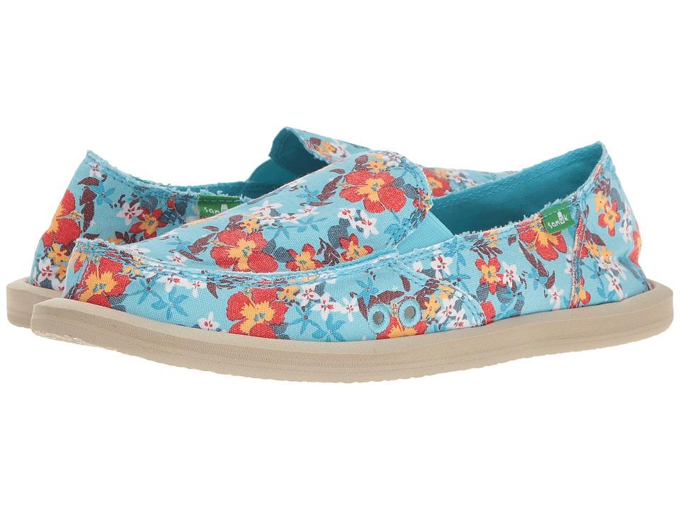 Sanuk - Donna Aloha (Aqua Waikiki Floral) Women's Slip on Shoes