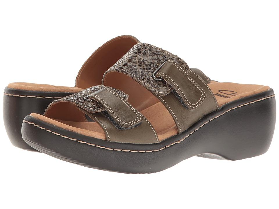 Clarks - Delana Fenela (Khaki Leather Combi) Women's Shoes