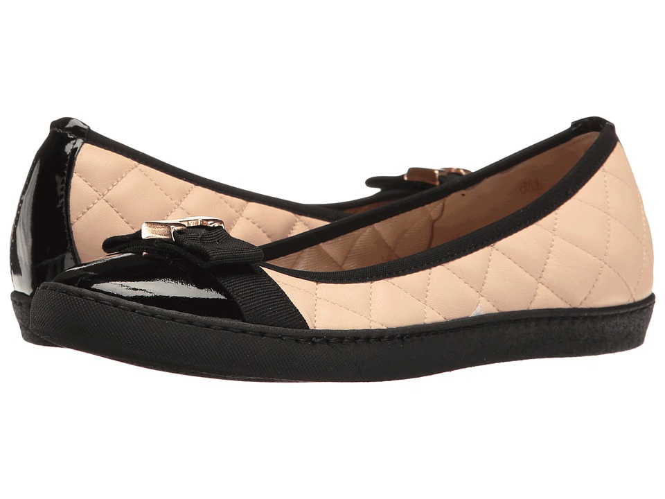 Sesto Meucci - Florel (Beige Nappa/Black Patent/Black Grosgrain) Women's Slip on Shoes