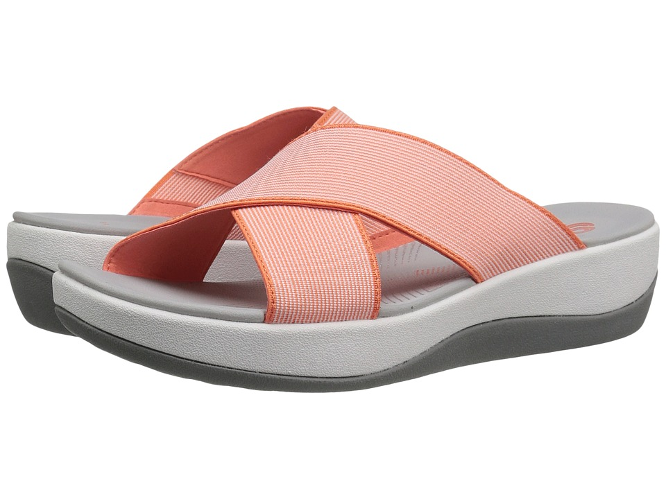 Clarks - Arla Elin (Coral/White Elastic Fabric) Women's Shoes