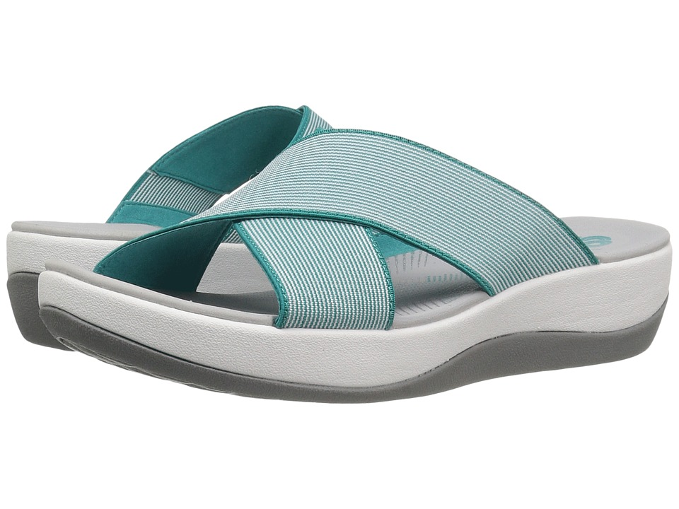 Clarks Arla Elin (Blue/White Elastic Fabric) Women