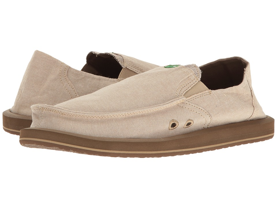 Sanuk - Pick Pocket TX (Tan Chambray) Men's Slip on Shoes