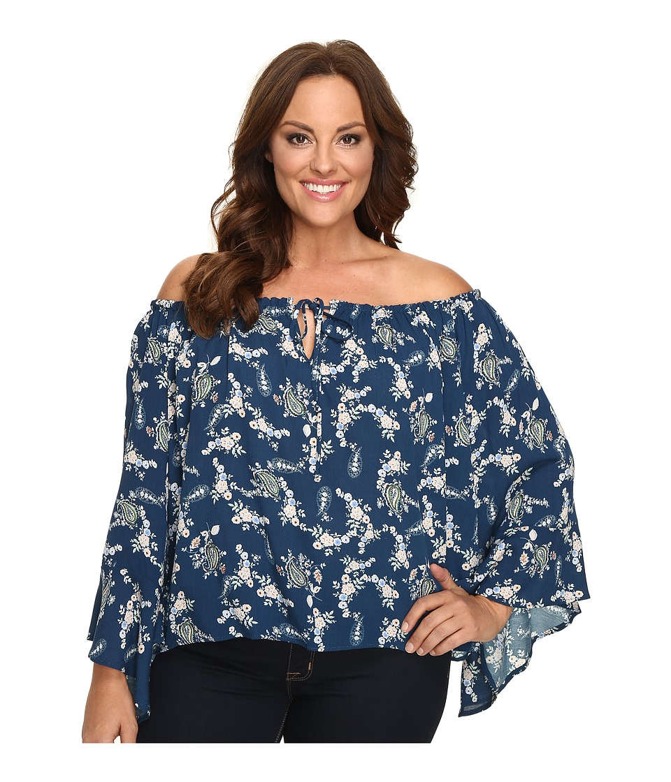 Christin Michaels - Plus Size Iris Off the Shoulder Top with Front Tie (Teal/Multi) Women's Clothing