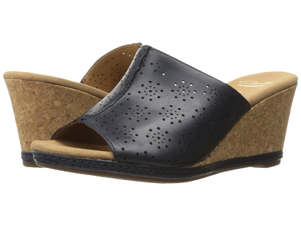 Clarks - Helio Corridor (Navy Leather) Women's Shoes