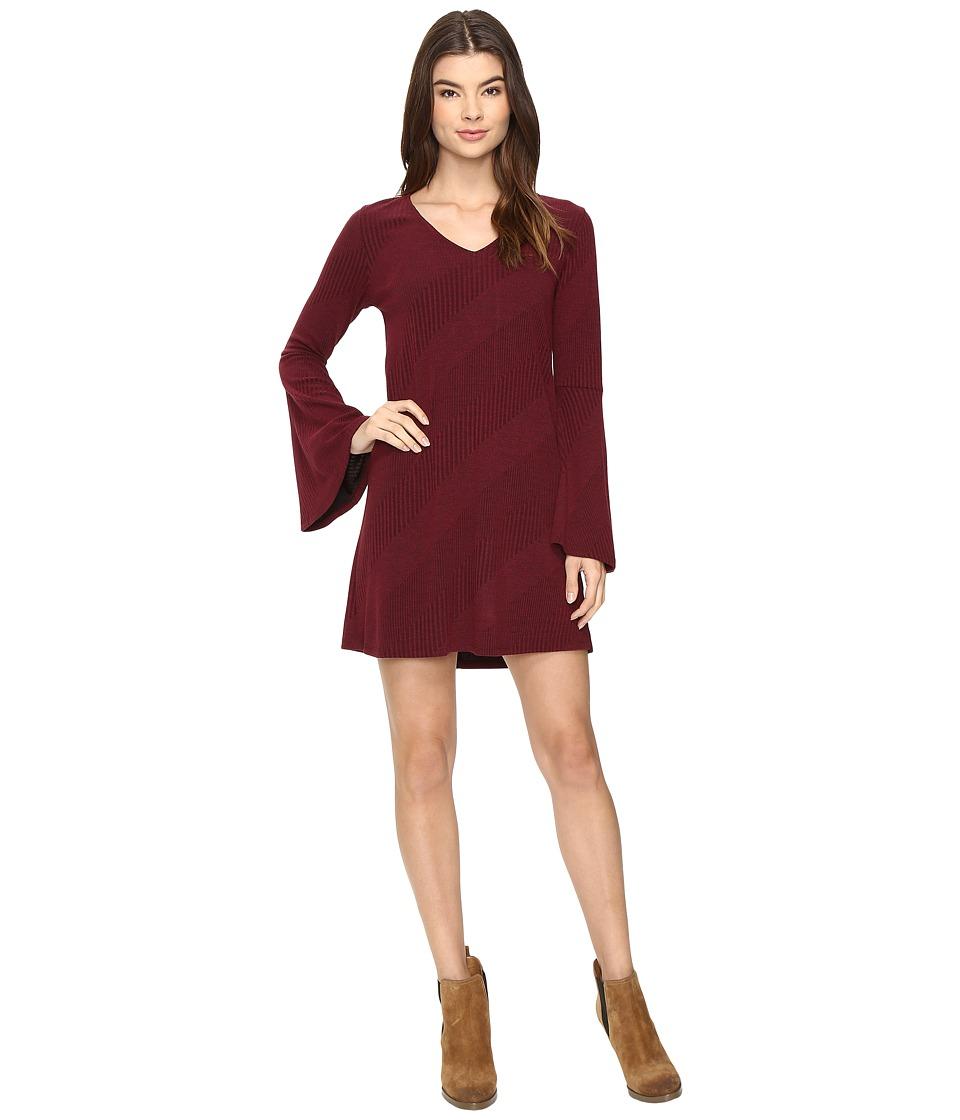 Brigitte Bailey Berne Bell Sleeve Sweater Dress (Burgundy) Women