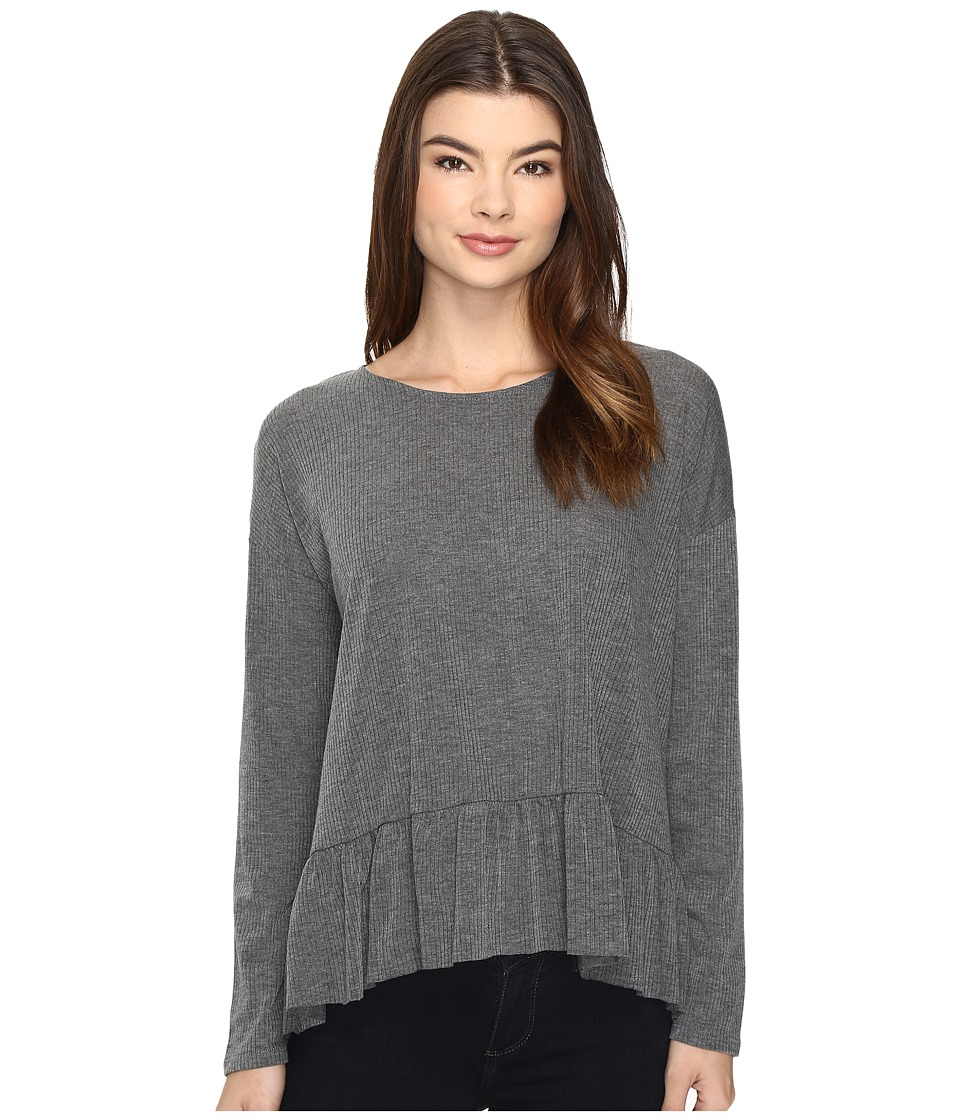 Brigitte Bailey - Primalia Long Sleeve Top with Ruffle (Grey) Women's Clothing