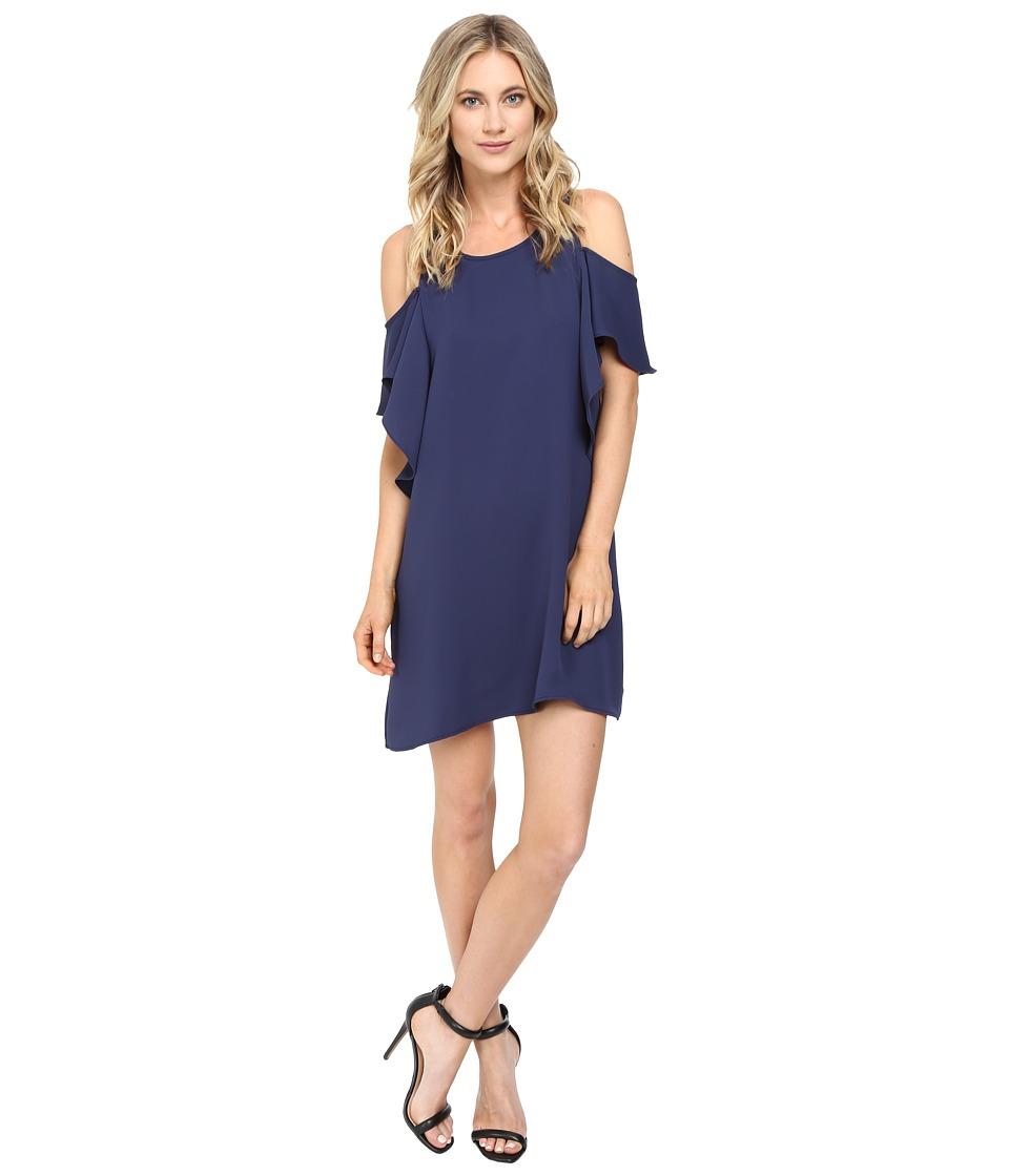 Brigitte Bailey - Naomi Cold Shoulder Ruffle Dress (Blue/Grey) Women's Dress