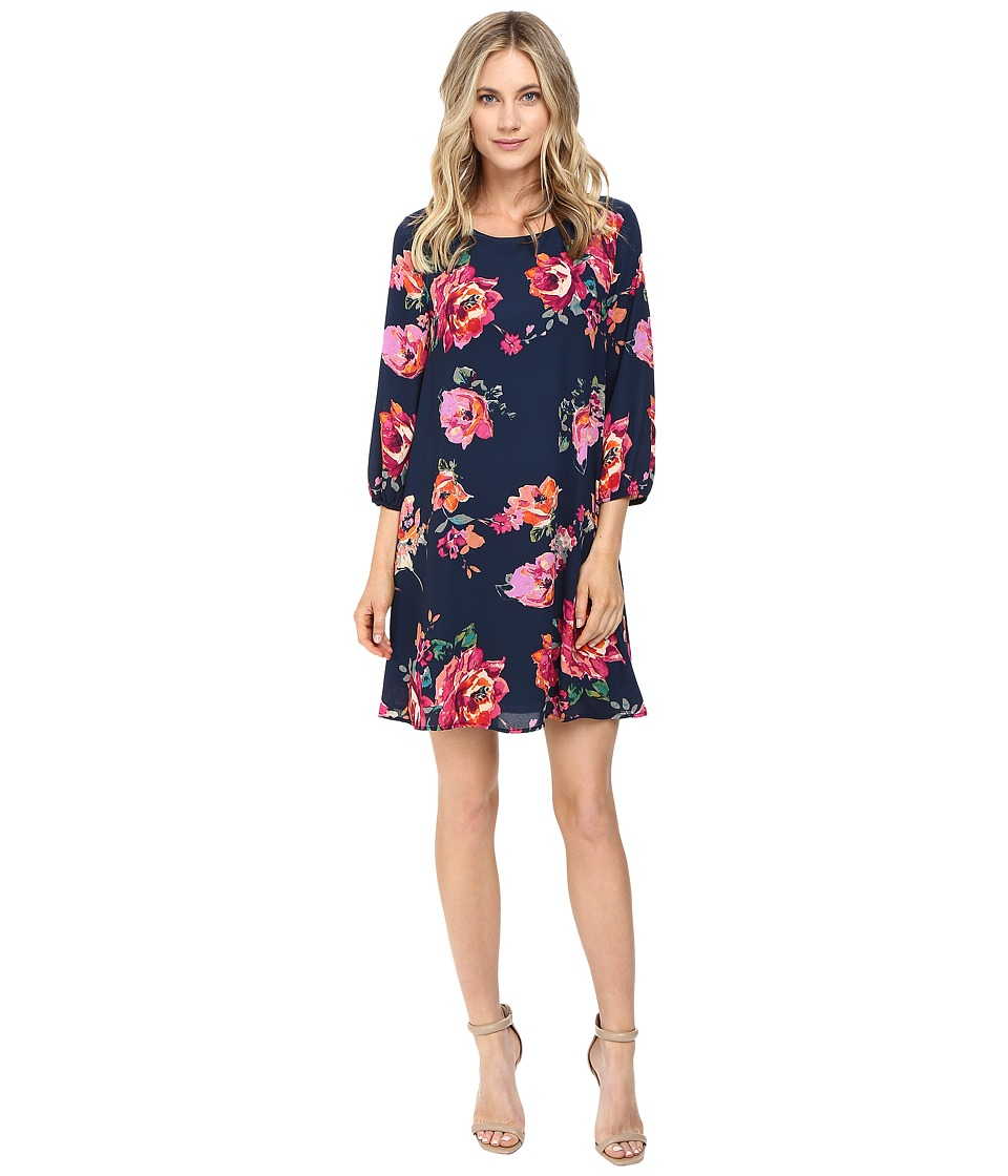 Brigitte Bailey - Bela 3/4 Sleeve Shift Dress (Navy/Pink) Women's Dress