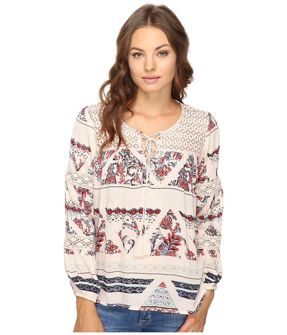 Brigitte Bailey - Gizela Long Sleeve Printed Top with Lace (Cream/Multi) Women's Clothing