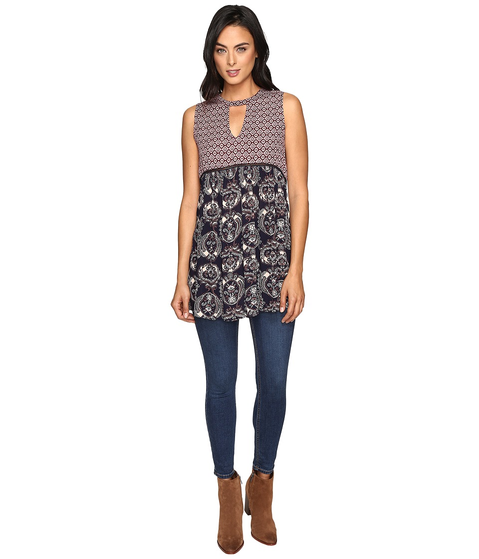Brigitte Bailey - Tisa Contrast Print Sleeveless Tunic with Lace Inset (Navy/Multi) Women's Dress