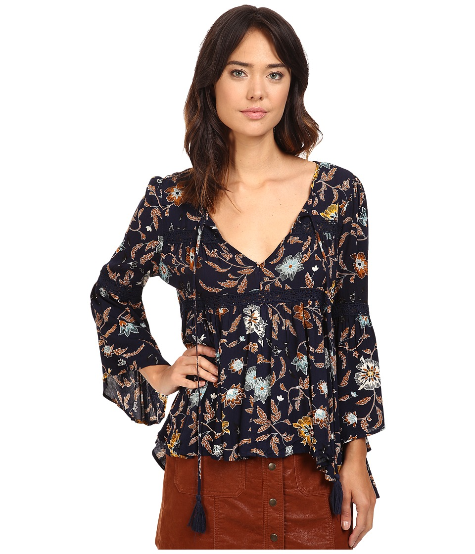 Brigitte Bailey - Aisha Printed Bell Sleeve Top with Crochet Detail (Navy/Multi) Women's Clothing