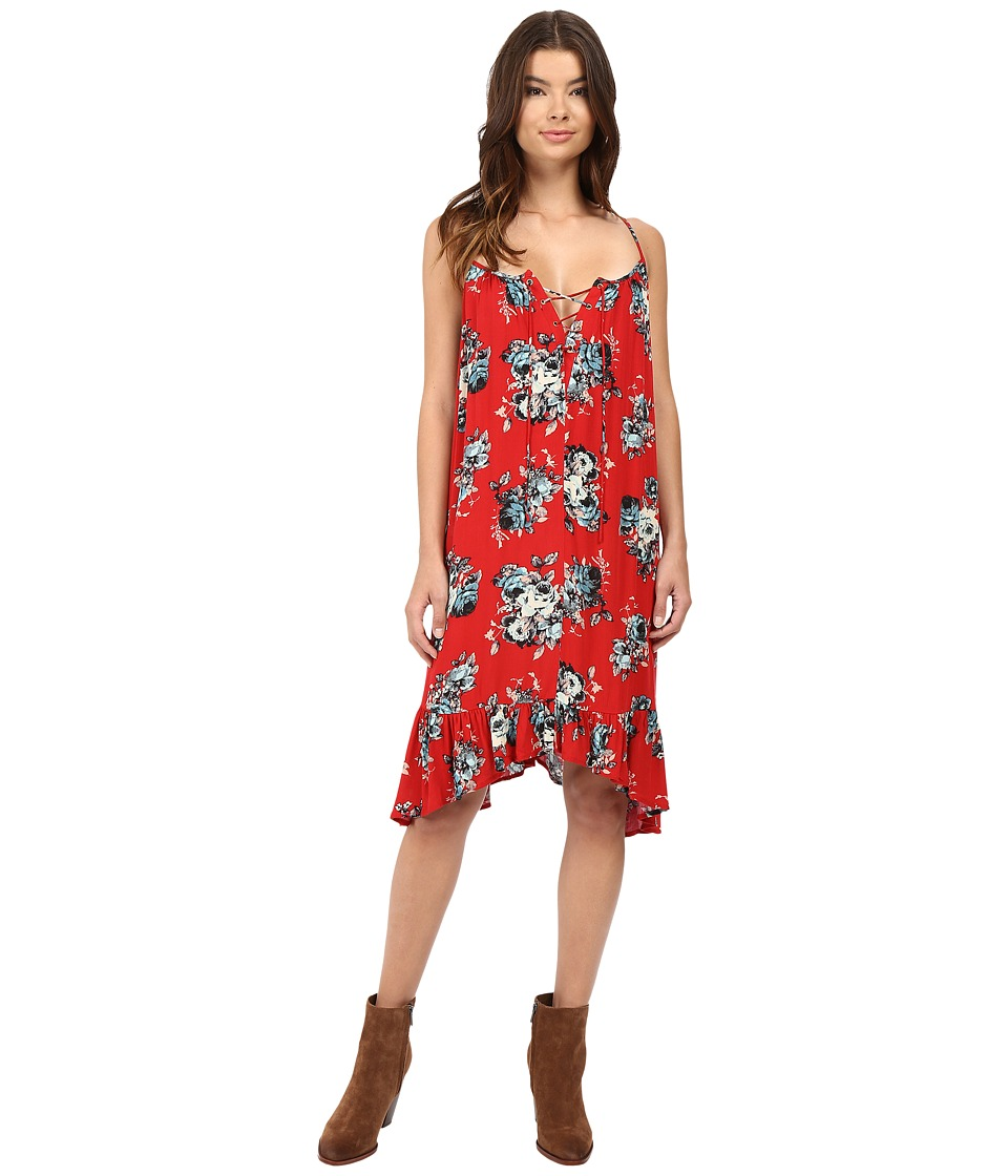 Brigitte Bailey - Mariposa Floral Print Tie Front Dress (Red) Women's Dress