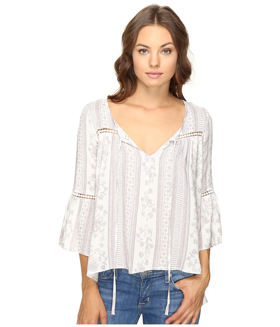 Brigitte Bailey - Ebba Bell Sleeve Top with Lace Inset (Off-White/Taupe) Women's Clothing
