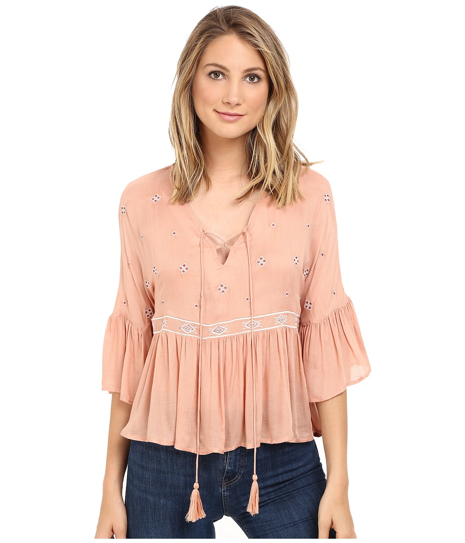 Brigitte Bailey - Ali 3/4 Sleeve Top with Embroidery (Blush) Women's Clothing