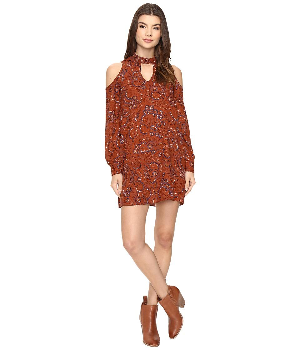 Brigitte Bailey Betha Cold Shoulder Long Sleeve Dress (Rust) Women