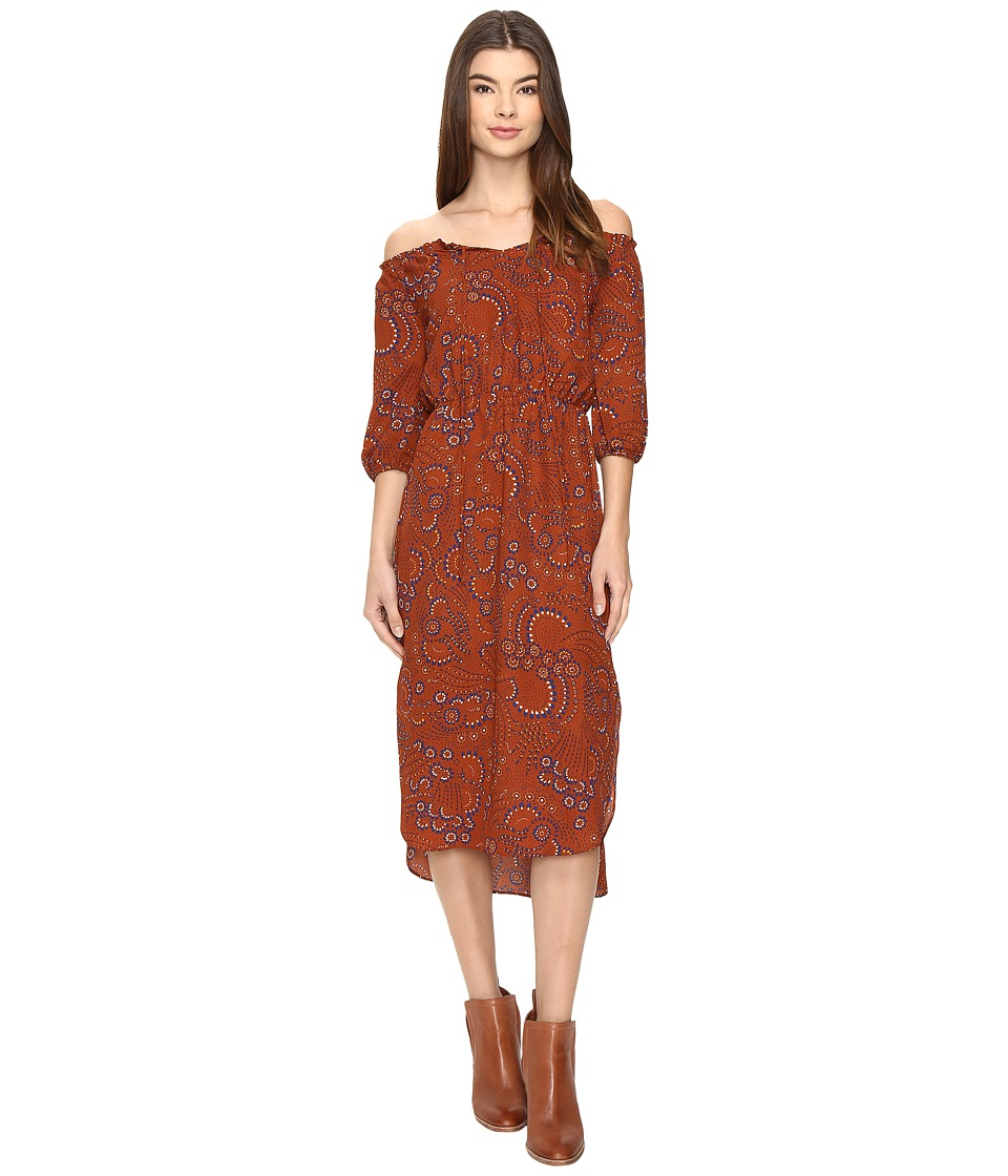 Brigitte Bailey - Astine Off the Shoulder Midi Dress (Rust/Navy) Women's Dress