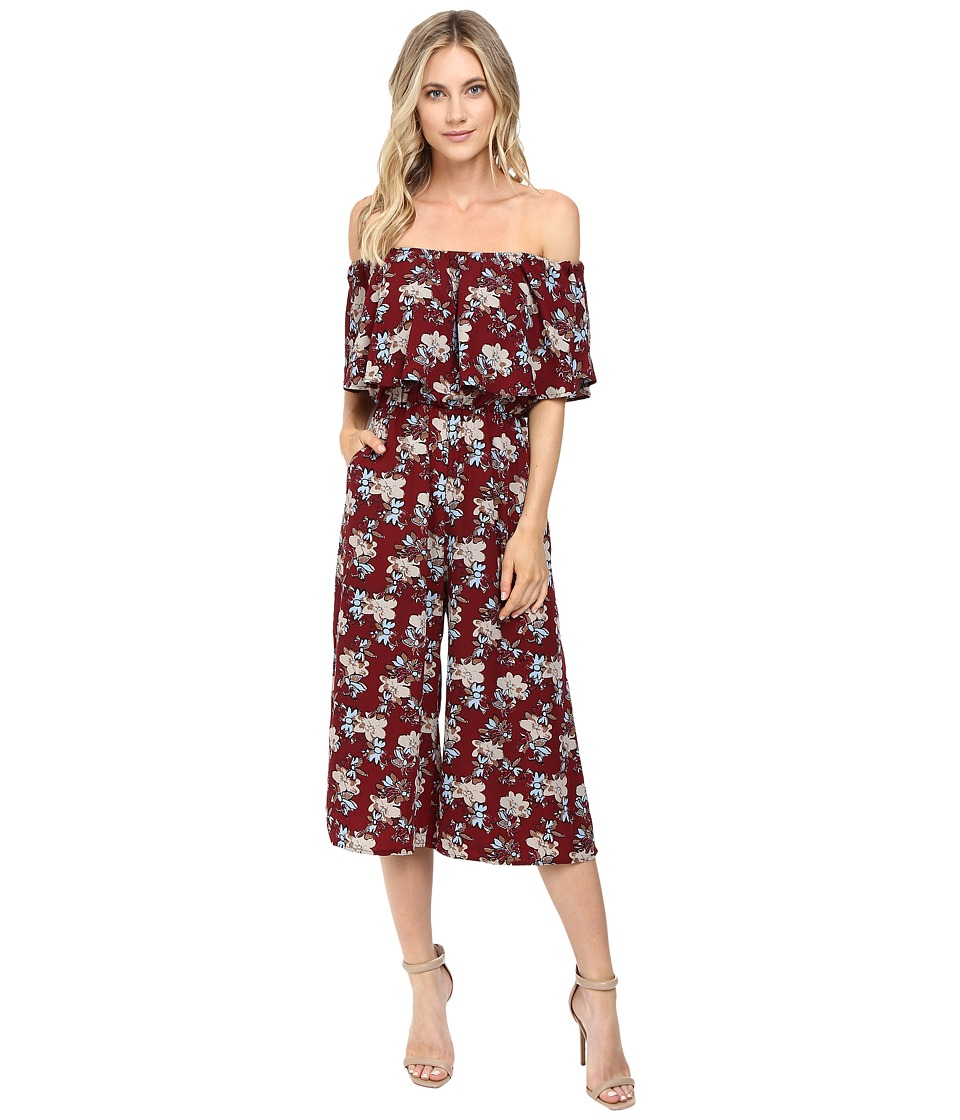 Brigitte Bailey - Abilene Off the Shoulder Jumper (Burgundy) Women's Jumpsuit & Rompers One Piece
