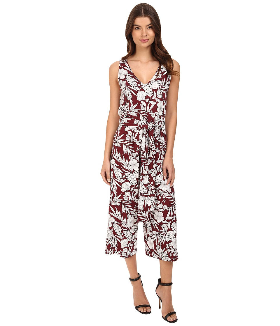 Brigitte Bailey - Bardot Sleeveless Tropical Print Jumper (Burgundy/White) Women's Jumpsuit & Rompers One Piece