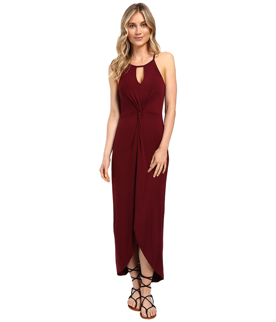 Culture Phit - Haidie Front Twist Keyhole Maxi Dress (Dark Wine) Women's Dress
