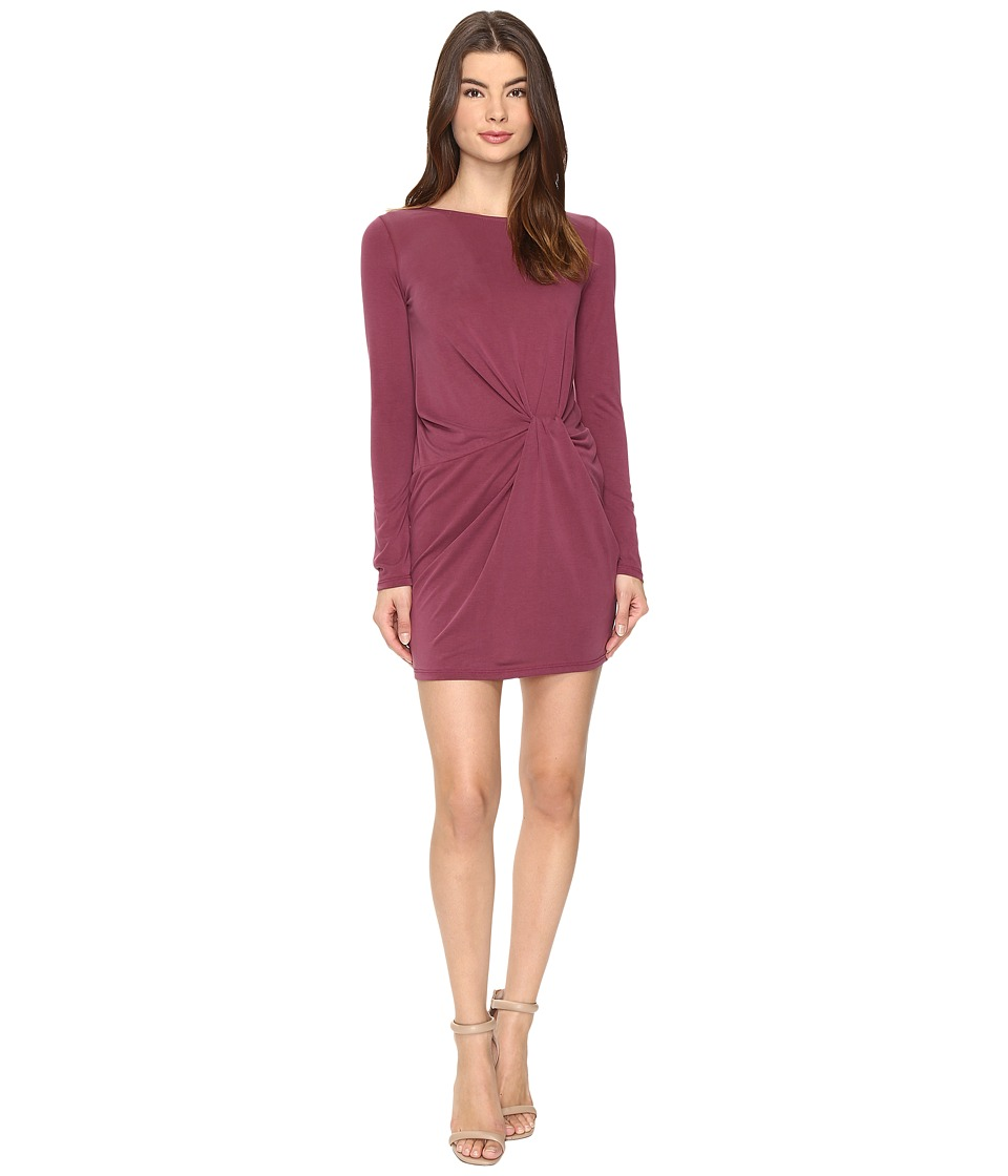 Culture Phit Jaclyn Long Sleeve Dress with Front Twist (Burgundy) Women