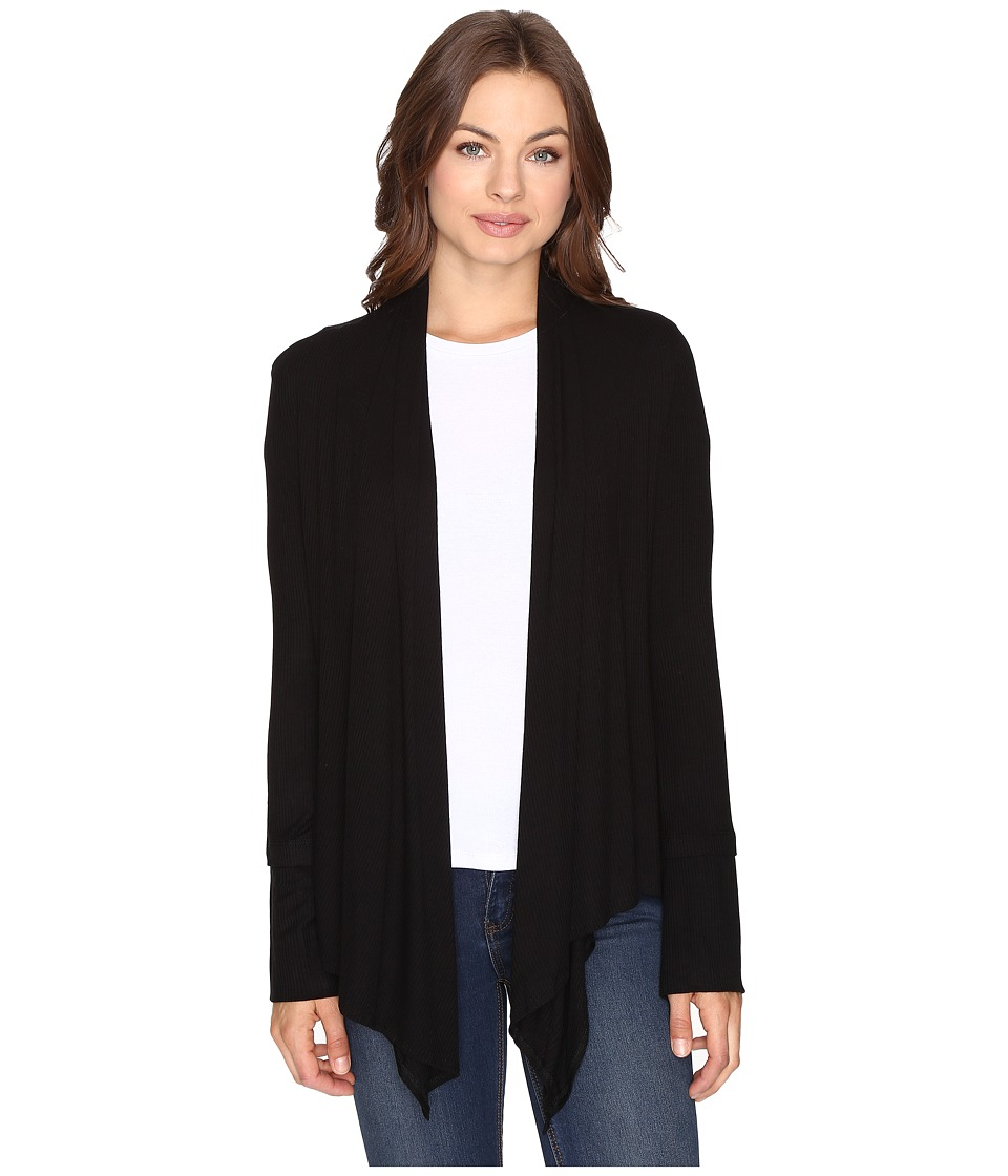 Culture Phit - Edda Long Sleeve Ribbed Cardigan (Black) Women's Sweater