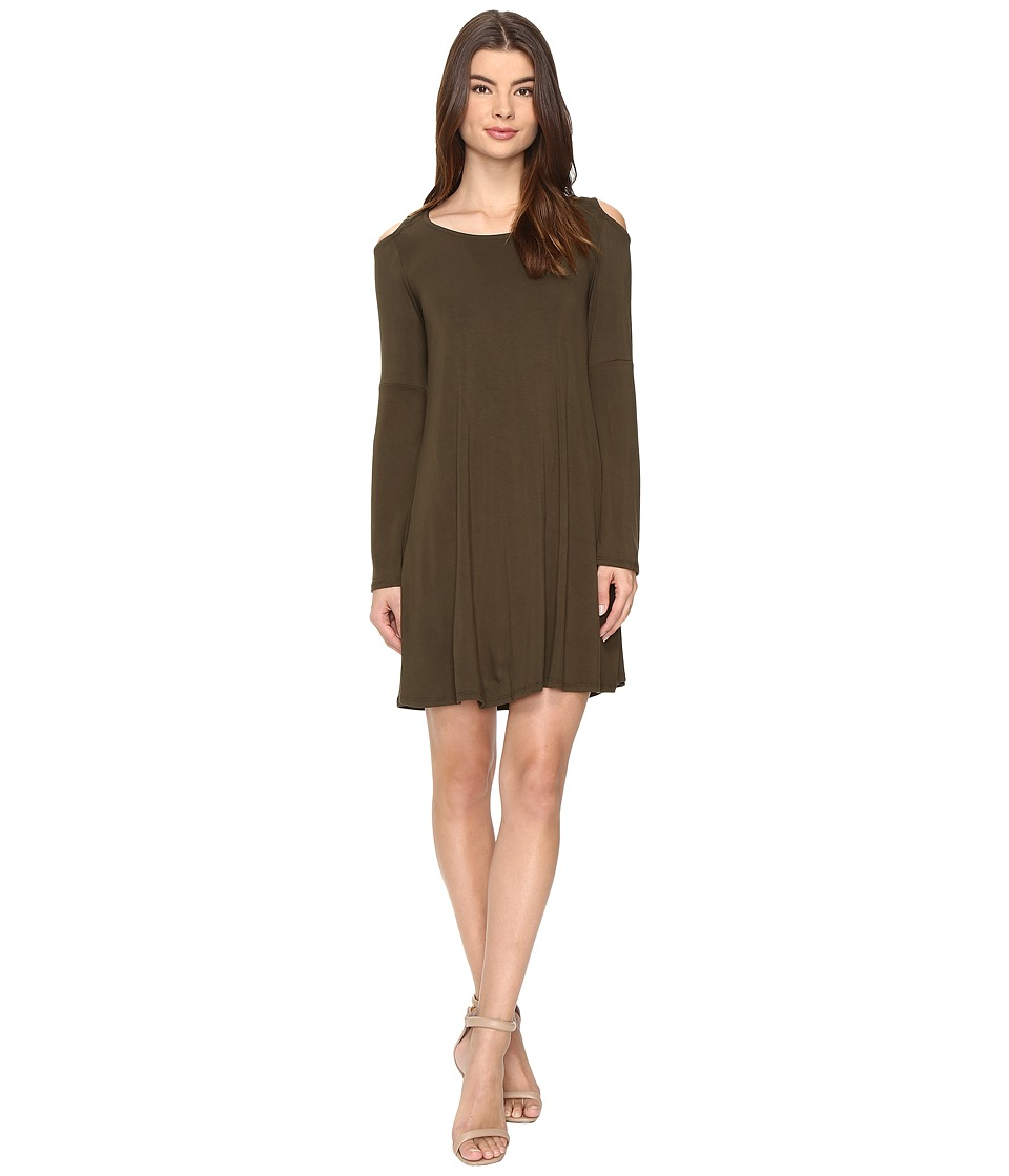 Culture Phit - Dallon Cold Shoulder Dress with Bell Sleeves (Olive) Women's Dress