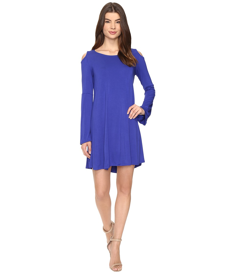 Culture Phit Dallon Cold Shoulder Dress with Bell Sleeves (Royal) Women