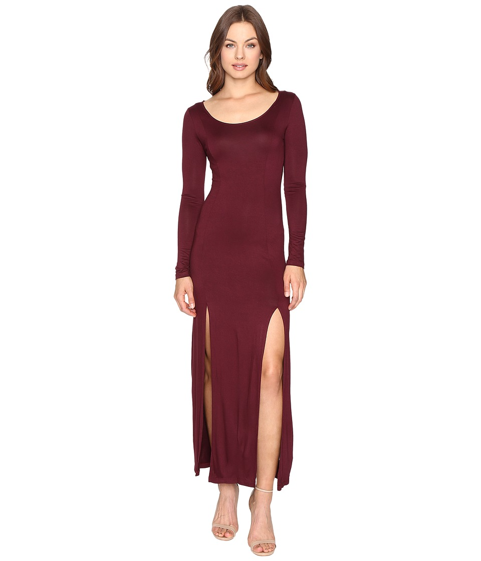 Culture Phit - Gali Long Sleeve Maxi Dress with Slits (Wine) Women's Dress