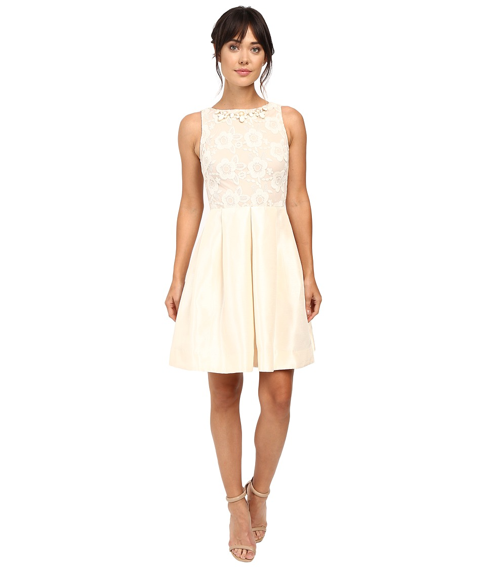Taylor - Shantung with Lace Party Dress (French Vanilla) Women's Dress