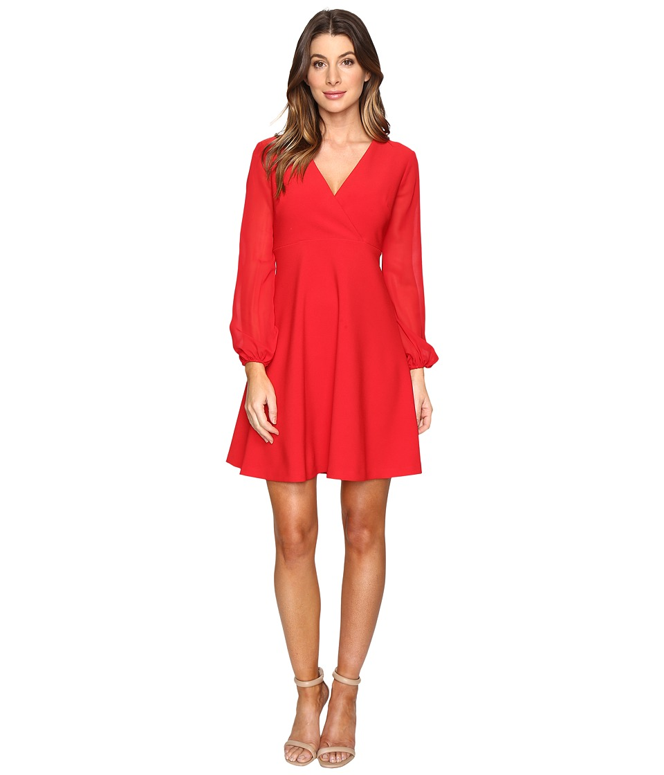 Taylor Stretch Crepe w/ Chiffon Sleeve Dress (Red) Women