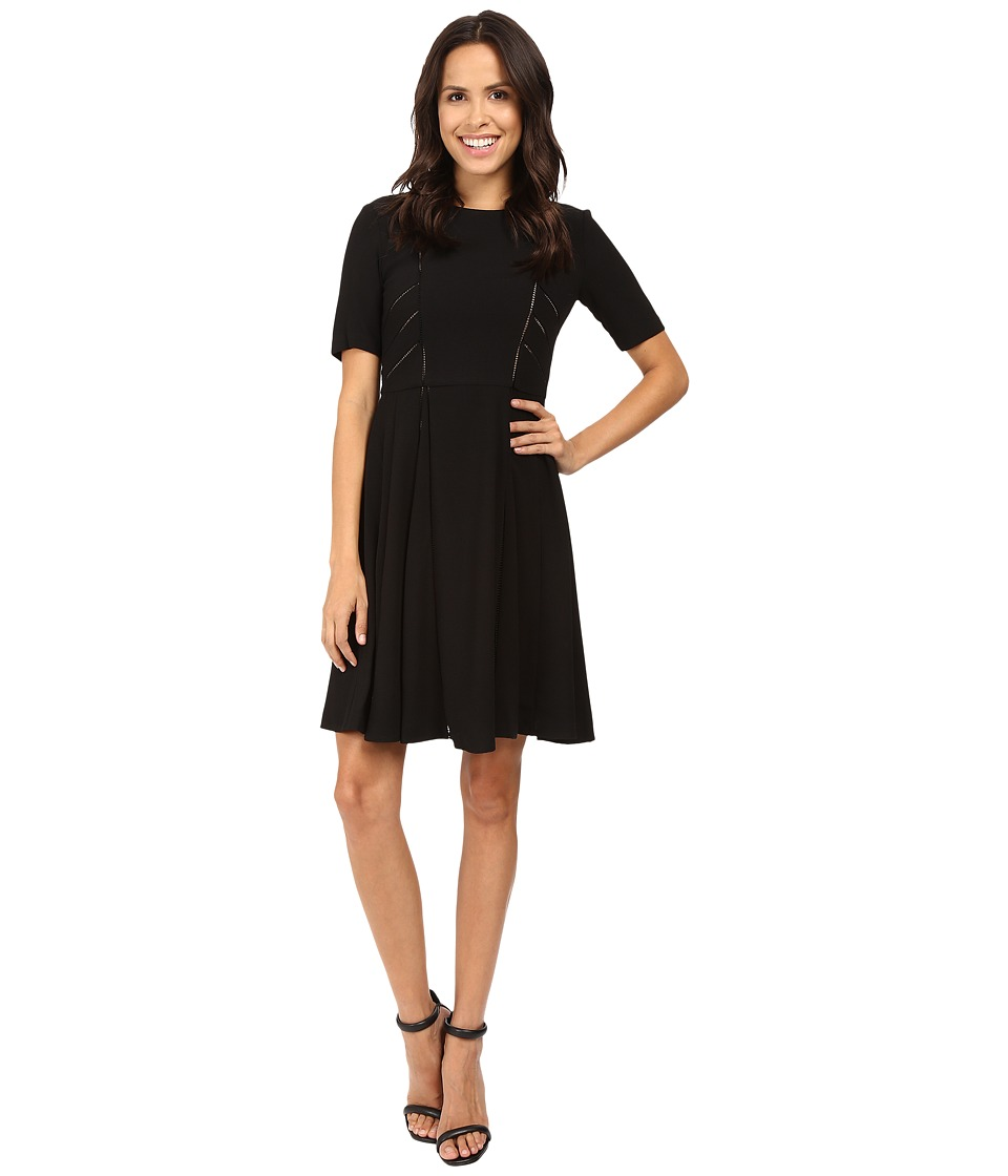 Taylor - Ladder Lace Inset Fit-and-Flare Dress (Black) Women's Dress