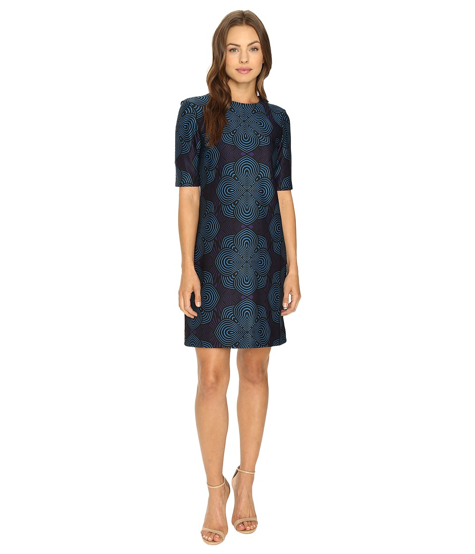 Taylor - Printed Scuba Shift (Bright Navy) Women's Dress