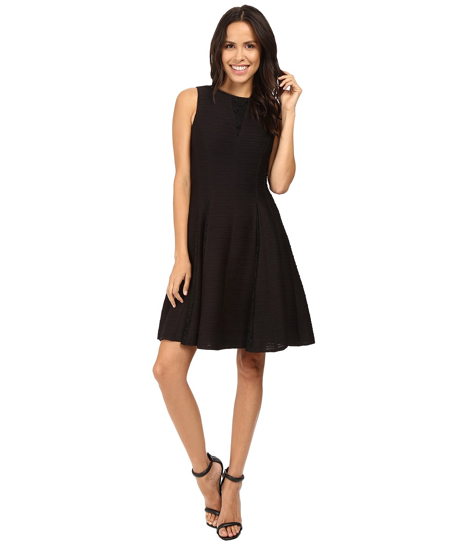 Taylor - Corded Knit w/ Lace Inserts (Black) Women's Dress