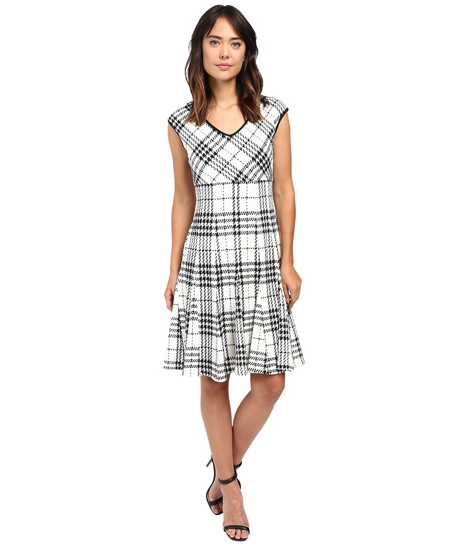 Taylor - Knit Jacquard Fit Flair (Ivory Black) Women's Dress