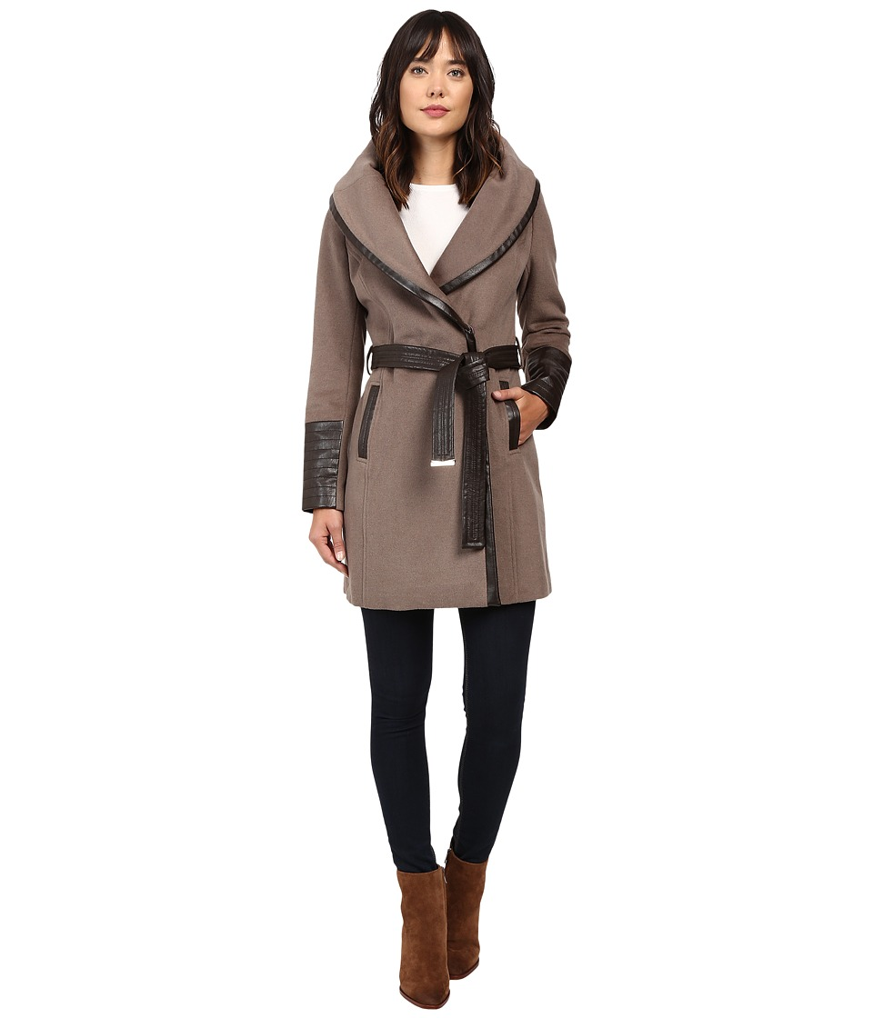 Via Spiga - Chic Wrap Coat with Contrast PU Detail and Belt (Pebble) Women's Coat