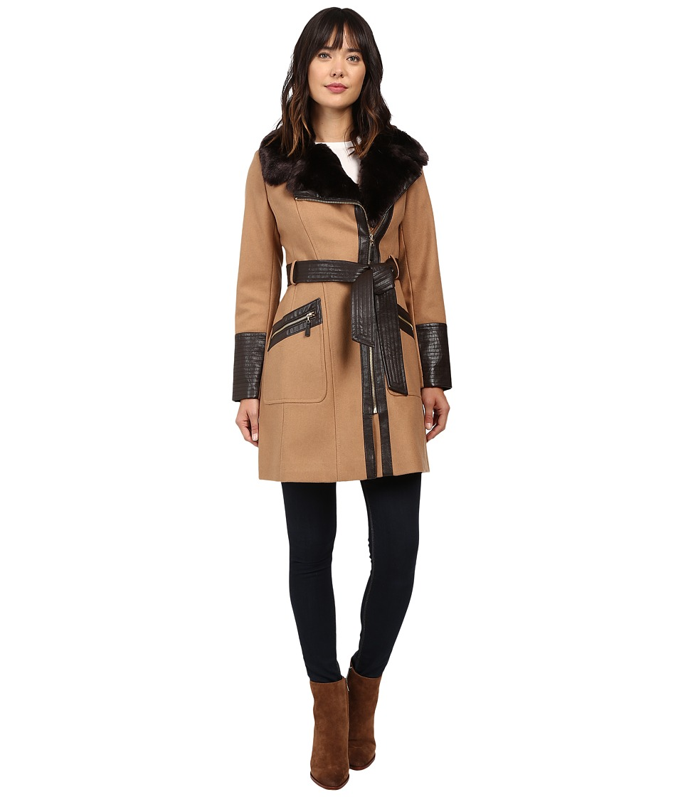 Via Spiga - Asymmetrical Faux Fur Belted Coat w/ PU Detail (Deep Camel) Women's Coat