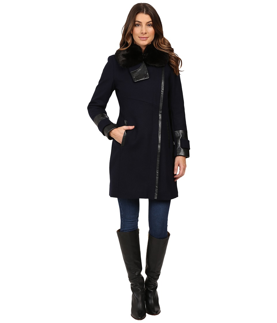 Via Spiga - Asymmetrical Coat w/ Zip Front and Faux Fur Collar (Navy) Women's Coat