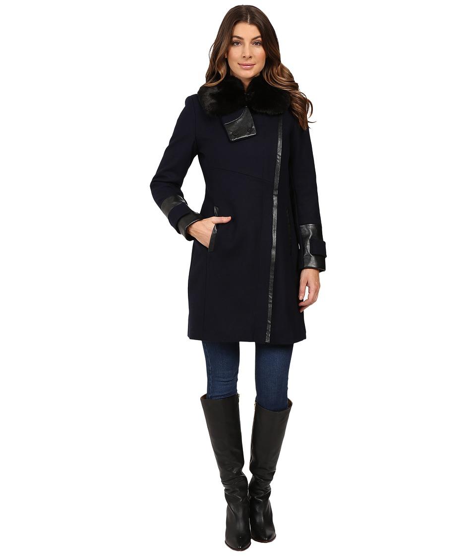 Via Spiga - Asymmetrical Coat w/ Zip Front and Faux Fur Collar (Navy) Women's Coat